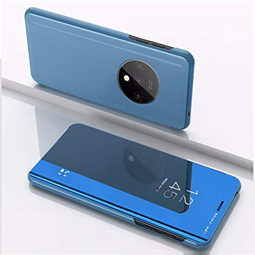 Navnika Clear View Mirror Flip Cover for Oneplus 7T - (Diamond Blue)
