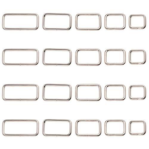 PandaHall Elite 26pcs 5 tamaños de hierro Rectángulo anillo hebilla cierres llavero hallazgos para correas, bolsas de fleje, accesorios de ropa, platino