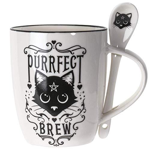 Summit Collection Alchemy Gothic Purrfect Brew Black Cats 11 fl oz Mug and Spoon Set Bone China