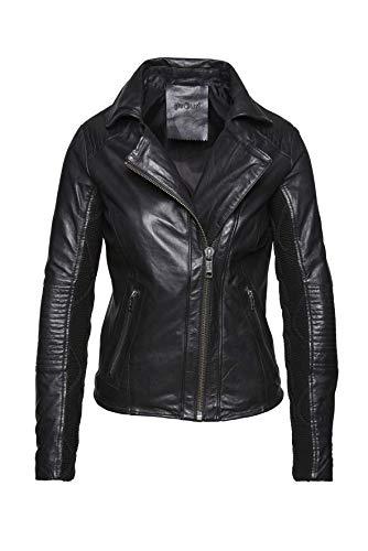 proud Damen Jacke Solar, echte Leder Jacke, Lederjacek mit Strickeinsatz in den Ärmeln in asymeetrischem Bikerjacke Schnitt, schwarz Gr XS