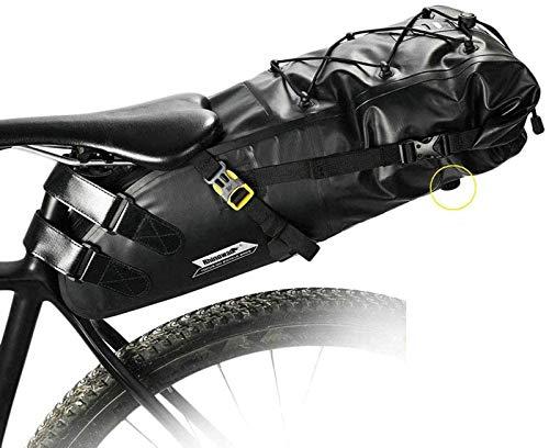 BIKERISK Bolsa de sillín Bicicleta 13L Bicicleta Impermeable Bolsas de Equipaje Resistente a la Rotura de la Cola de la Bici Bolsa para Asiento MTB o Bicicleta de Carretera