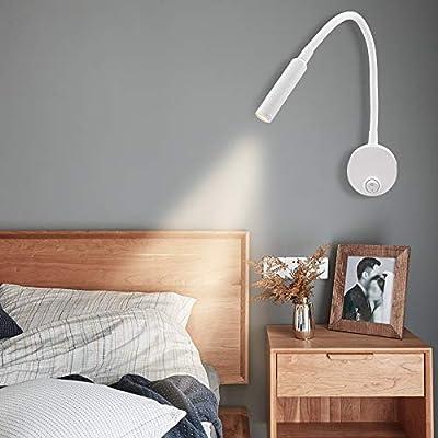 Proyector de pared LED de alta potencia de 3 vatios, iluminación suave blanca cálida de 3000k. Estilo moderno minimalista, fácil de instalar a mano. Brazo de lámpara ajustable, brazo de doblado de 360 °, ajuste el ángulo de iluminación según sus nece...