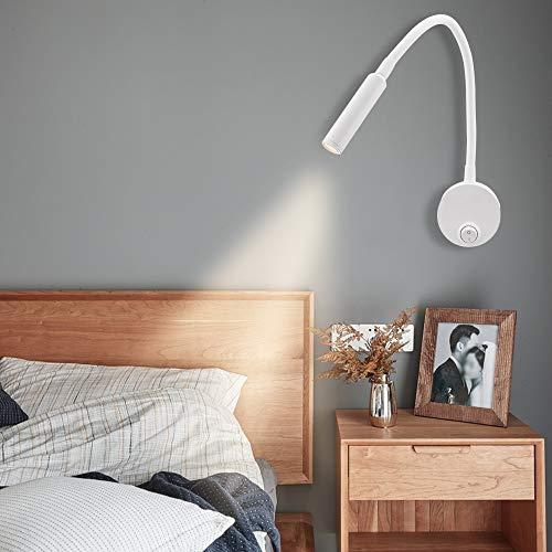 Artpad Paquete de 2 focos de pared blancos, lámpara de curva de cabecera de luz blanca cálida suave, lámpara de noche de lectura minimalista montada en la pared de 3 vatios con interruptor de botón