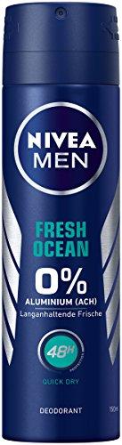 NIVEA MEN Fresh Ocean Deo Spray im 6er Pack (6x 150 ml), Deo ohne Aluminium mit erfrischender Formel, Deodorant mit 48h Schutz pflegt die Haut