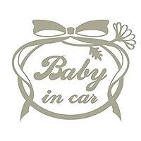 imoninn BABY in car ステッカー 【パッケージ版】 No.29 お花リボン (グレー色)