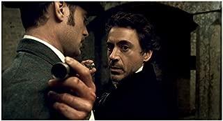 Sherlock Holmes 8 x 10 Photo Robert Downey, Jr. Holding Long Metal Pipe w/Jude Law kn