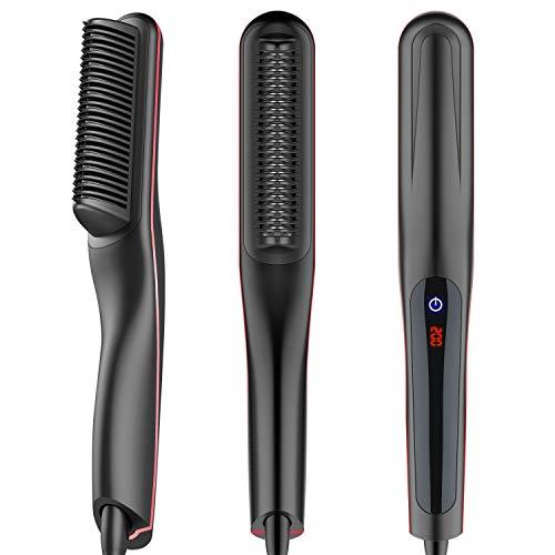 Bartglätter Kamm für Herren Haarglätterr Bürste Quick Beard Straightener Multifunktionale Electric Hair Straightener Brush LCD Display Keramik Quick Hair Styler (Black+Red)