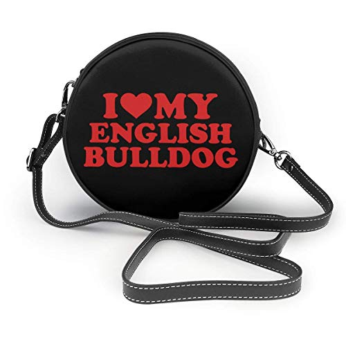 I Love My English Bulldog Classic Round Shoulder Bag Crossbody Leather Handbag