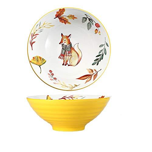 Japanische Ramenschale aus Keramik, Kreative Suppenschüsseln mit Essstäbchen, Große Ramen Schüssel Porzellan Nuddelschale 8 Zoll, Persönlichkeit Ramen Schalen für Müsli, Nudeln, Vorspeise usw(Fuchs)
