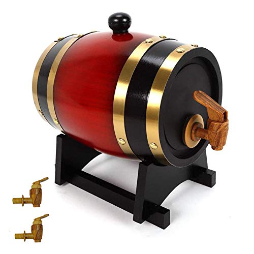 KHXJYC Barriles De Roble Pino, Dispensadores De Barril De Envejecimiento De Roble Y Dispensadores Verticales De Barril De Whisky para Vino, Brandy Y Whisky De Primera Calidad,3L