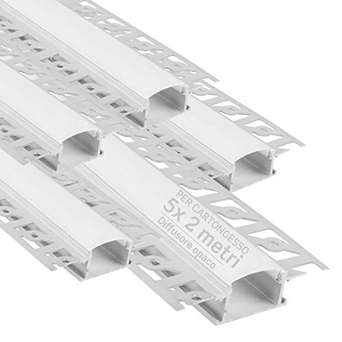 5x Profili da 2 metri (10mt) a Scomparsa in Alluminio per Strisce LED Copertura Opaca larghezza max striscia led 20.7mm - 28.5 x 14 (alette 61.5)