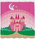 Mädchen Märchenschloss Prinzessin HD-Druck, wasserdichter Duschvorhang für das Badezimmer, 12 Haken kostenlos, 180x180cm