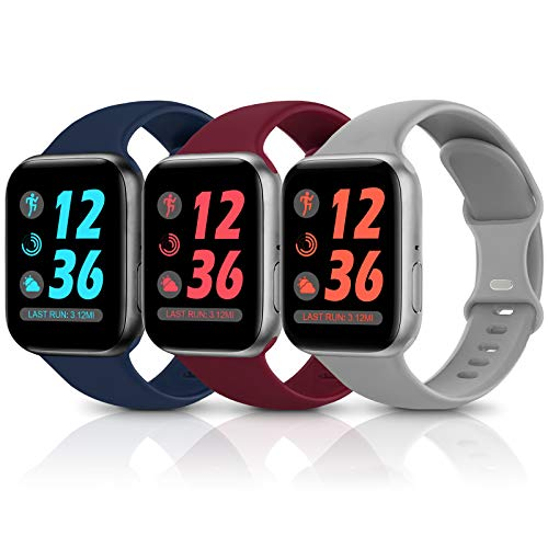Sport Silicone Band Compatible with Apple Watch Bands 38mm 40mm 42mm 44mm,Soft Replacement Wristbands for iWatch Series 1/2/3/4/5/6/SE,Women Men,3 Pack(Wine Red/Navy Blue/Grey,38mm/40mm-S/M)