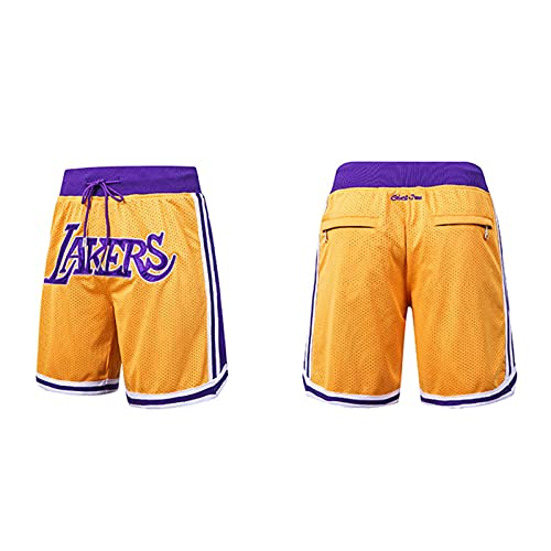 Lakers Basketball-Shorts, bestickte Basketballhose Hip - Hop Lose Street Sports Shorts Fünf Punkt Hosen Casual Fitness Running Kleidung Gr. S, blau