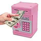 Password Piggy Bank Digital Electronic Money Bank Mini ATM Cash Coin Saving Can Toys Birthday Gifts for Kids Pink Silver