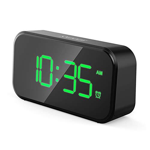 Teblacker Wecker, kleine Digitaluhr mit Temperaturanzeige, Schlummer, batteriebetrieben und USB-Aufladung fr Schlafzimmer, Bett, Bro & Reisen(Schwarz)