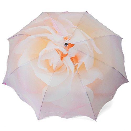 ROSEMARIE SCHULZ® Regenschirm Automatik Taschenschirm Blumen-Motiv Rose (Champagner)