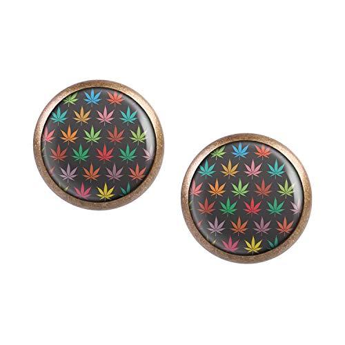 Mylery Ohrstecker Paar mit Motiv Weed Marihuana Gras Pflanze Hanf-Blatt Muster bronze 12mm