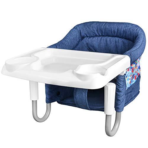 Baby Tischsitz, Faltbarer Babysitz Hochstuhl für Esstisch, Stuhl Sitz zum Befestigen am Tisch, mit Transporttasche,Tablett, Gepolsterter Tischstuhl für zu Hause(Mehrfarbig)