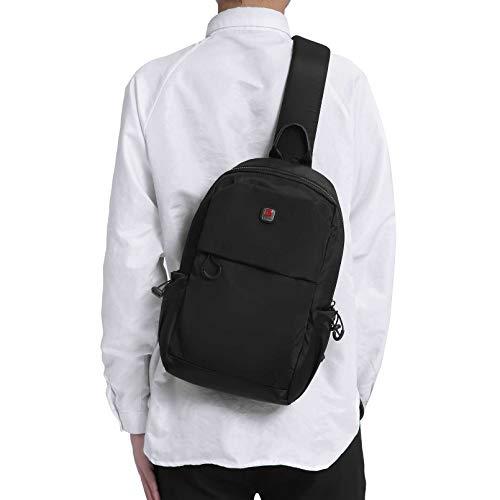 Men Small Sling Bag Crossbody Backpack Travel Daypacks Chest Pack Lightweight Outdoor Shoulder Bag One Strap Black (BLACK)