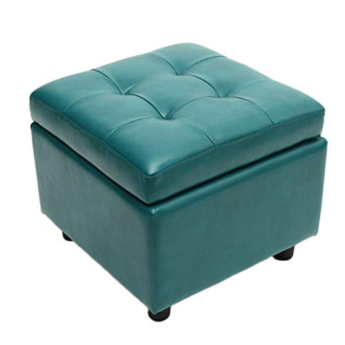 Glove Ottoman Storage Footstool Cube Tufted Footrest Stool Flip Top Stool Faux Leather Coffee Table for Living Room Bedroom Office Cyan Blue 44 x 44 x 38 cm (17 x 17 x 15 inches)