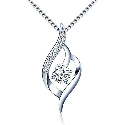Damen Halskette Twist 925 Sterling Silber Zirkonia Anhänger 45cm / Kette, Schmuck Geschenke für Frau Freundin