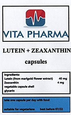Lutein 40MG + ZEAXANTHIN 4MG, 365 Capsules. 1 Years Supply, Bulk Deal by VITA PHARMA, Best Price, Produced HERE in The UK