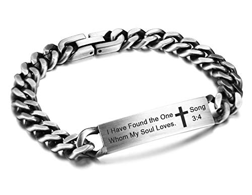 JF.JEWELRY Inspirational ID Wristband Cross Links Bracelets for Men Religious Quote Faith Christian Bible Verse Bracelets-Song 3:4