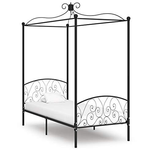 vidaXL Himmelbett Bettgestell Bett Einzelbett Metallbett Bettrahmen Lattenrost Schlafzimmerbett Schlafzimmermöbel Ehebett Schwarz Metall 100x200cm