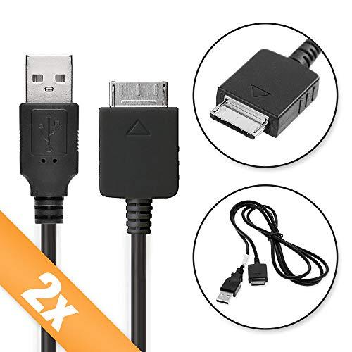 subtel 2X USB Kabel 1m kompatibel mit Sony Walkman NWZ-ZX2, NWZ-A15, A10, NWZ-A816, A818, NWZ-E858, NWZ-ZX1, ZX100 Ladekabel Walkman Connector auf USB A 2.0 Datenkabelschwarz