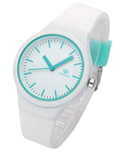 JSDDE Uhren Damenuhr Armanduhr Candy Farbe Silikonband Sportuhr Lässig Analog Quarzuhr Watchs für Frauen Mädchen Jungen (Weiß)