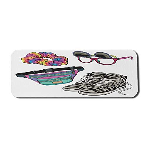 Retro Computer Mouse Pad, Hipster Brille Scrunchie Gürteltasche und Zebra Themed Sneakers Bunte Zusammensetzung, Rechteck rutschfeste Gummi Mousepad Large Multicolor