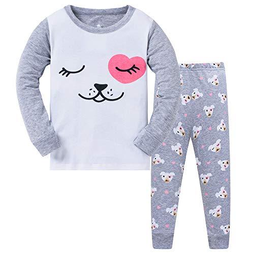 HIKIDS Mädchen Schlafanzug Hund Baumwolle Kinder Langarm Pyjama 104