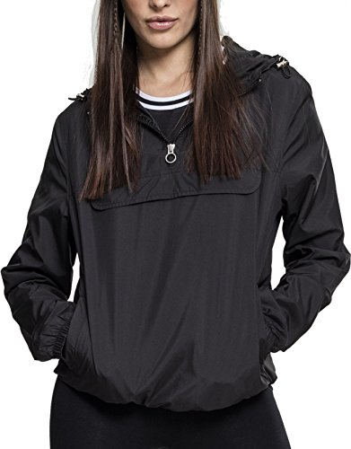 Urban Classics Damen Übergangs-Jacke Ladies Basic Pull-Over Jacket ,Schwarz (Black 00007) ,S