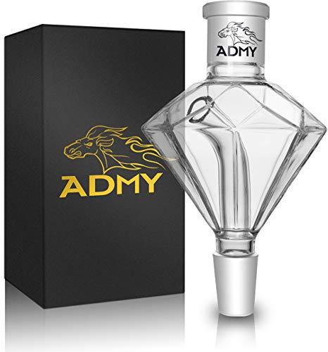 ADMY Shisha Molassefänger Diamant, Transparent 18/8 Schliff Vorkühler-Aufsatz aus Verdicktes Glas, Universal Hookah Zubehör passte für meiste Wasserpfeife, Leicht reinigt zu werden