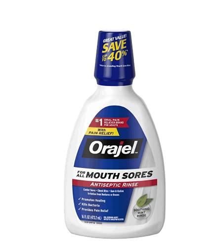 Orajel Alcohol-Free Antiseptic Mouth Sore Rinse, Fresh Mint, 16 Fl Oz (Pack of 2)