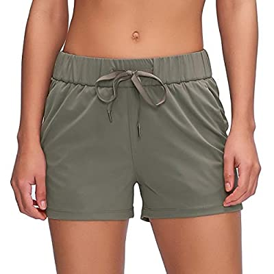 "Willit Women's Yoga Lounge Shorts Comfy Active Running Shorts Casual Workout Hiking Shorts Pockets 2.5"" Olive Green M"