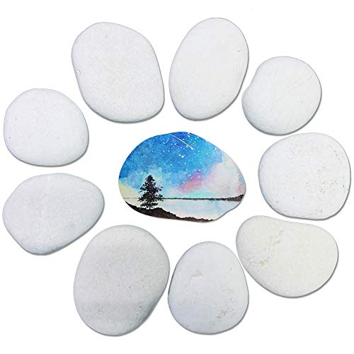 TIDYON 10 Rocks for Painting Smooth WhiteLarge RiverRocks for Kids Painting and Crafting Garden Decor (2-4 inches)