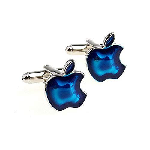 Fliyeong Blaue Manschettenknöpfe von Apple mit Manschettenknöpfen Personalisierte Manschettenknöpfe Modisches Hemd Manschettenknöpfe Hochwertige Manschettenknöpfe für Outfit Unisex