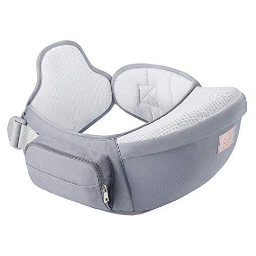 GAGAKU Porte-bébé Siège de Hanche avec Double Ceinture à Taille Réglable Ergonomique Ventral Tabouret 4 Positions pour Bébé 0-36 Mois