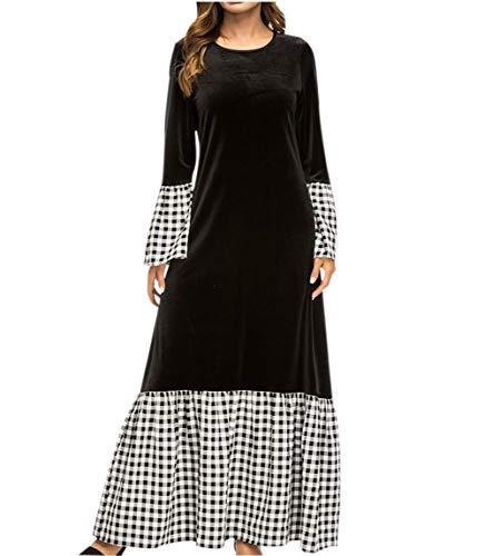 Damen Übergröße Islamische Kleidung Frauen-Muslim Dubai Abaya Robe Maxikleid Abaya schwarz Swing...