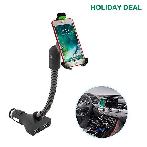 Airena mobielhouder voor in de auto, met 3.4A 2-poorts USB-sigarettenaansteker oplader voor iPhone X/8/7/6s/6 Plus/5 Galaxy S8/S7/S6/S5/S4 Huawei Nexus Xperia LG HTC en GPS Naivs-apparaten.