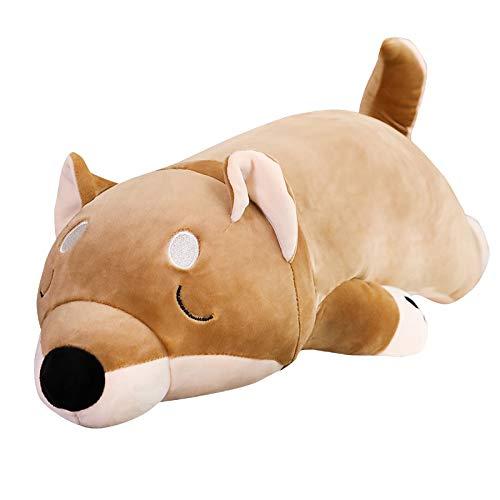 KXCAQ 60-100cm de Dibujos Animados de Peluche de Perro Juguetes Grandes Shiba Inu muñeca de Perro Animal Encantador Regalo de cumpleaños para niños Almohada de Felpa Corgi 60cm