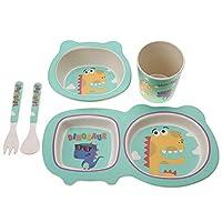 5個/セットベビー食器セット無毒竹繊維プレートボウルウォーターボトルと子供用食器食品(恐竜)