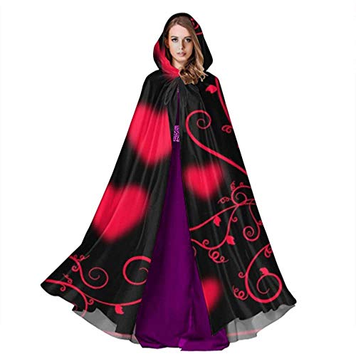 Zome Lag Devil Witch Wizard Cloak,Halloween Cosplay Costume,Party Wizard Cape,Cloak With Hood,Hearts Ornament Romantic Love Texture Men Hooded Cloak Unisex Hooded Cloak
