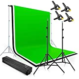 Professional Studio Green Screen Backdrops Kit - 2x3m Green Screen, White & Black Backdrops, Support Frames, Carry Case, Backdrop Clamps - Portable & Adjustable Chroma Key Film & Photography Setup