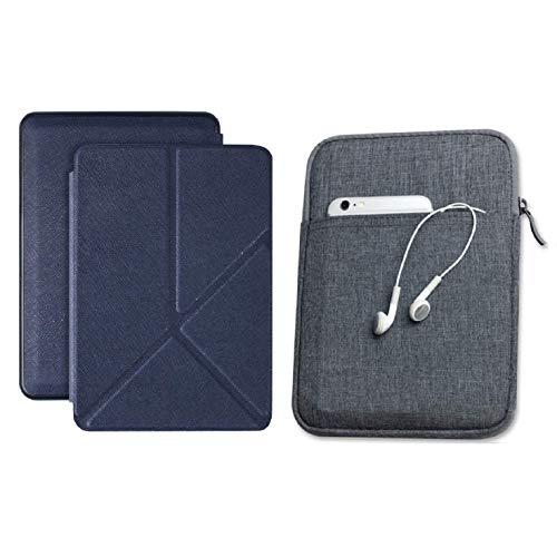 Capa Kindle Paperwhite 10ª geração à prova d'água Azul Marinho Origami - Função Liga/Desliga - Fechamento magnético + Bolsa Sleeve Cinza Escuro