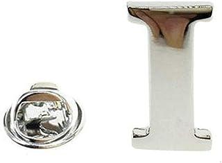 FOPUYTQABG Broche de plata con letra de solapa para hombre, 26 letras, collar de pie para fiesta, compromiso