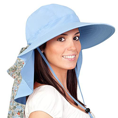 Womens Sun Hats Neck Flap Large Brim UV Protection Foldable Fishing Hiking Cap Blue