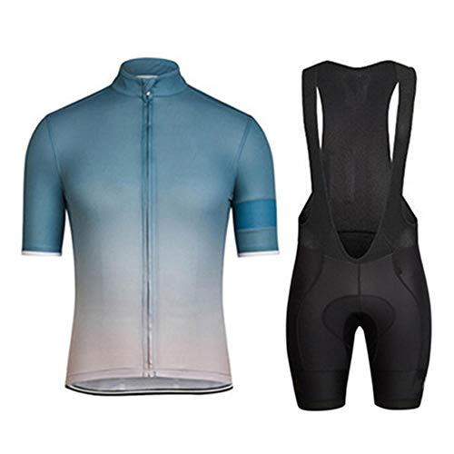 HXTSWGS Hombres Jersey de Ciclo Bike Wear Culote Bicicleta,Conjuntos de Ropa de Ciclismo/Ropa de Ciclismo Transpirable para Hombres Conjuntos de Camisetas de Ciclismo de Manga Corta de verano-A10_M